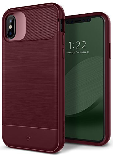 iPhone X Case, Caseology [Vault Series] Slim Protective Shock Absorbing TPU Rugged Protection Textured Grip for Apple iPhone X (2017) - Burgundy