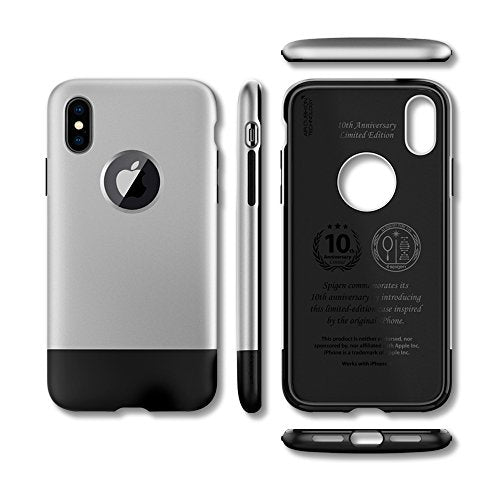 wholesale dealer f3917 91192 Spigen Classic One [10th Anniversary Limited Edition] iPhone X Case with  Air Cushion Technology for Apple iPhone X (2017) - Aluminum Gray
