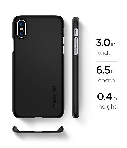 the latest 770c4 66d4f Spigen Thin Fit iPhone X Case with SF Coated Non Slip Matte Surface for  Excellent Grip and QNMP Compatible for Apple iPhone X (2017) - Matte Black