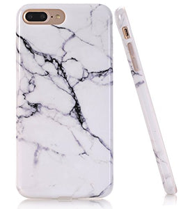 iPhone 7 Plus Case, White Marble Creative Design, BAISRKE Slim Flexible Soft Silicone Bumper Shockproof Gel TPU Rubber Glossy Skin Cover Case for Apple iPhone 7 Plus 5.5 inch [Black]