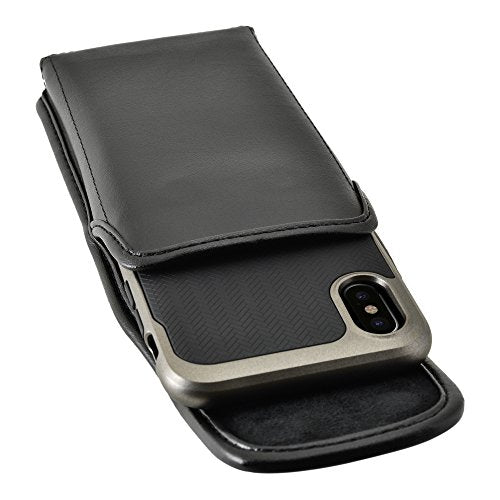 innovative design ac909 8e3fc Turtleback Holster for iPhone X 10 Black Vertical Belt Case Leather Pouch  with Executive Belt Clip, Horizontal Made in USA