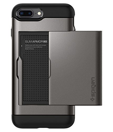 Spigen Slim Armor CS iPhone 8 Plus Case / iPhone 7 Plus Case with Slim Dual Layer Wallet Design and Card Slot Holder for Apple iPhone 8 Plus 2017 / iPhone 7 Plus 2016 - Gunmetal