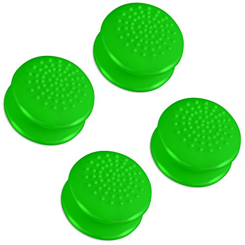 Fosmon [Set of 4] Analog Stick Joystick Controller Performance Extended Thumb Grips for PS4 | PS3 | Xbox ONE, ONE X, ONE S, 360 | Wii U (Solid Green)