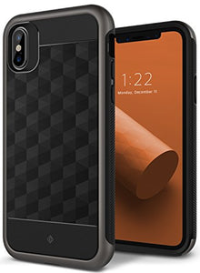 iPhone X Case, Caseology [Parallax Series] Slim Protective Dual Layer Textured Cover Secure Grip Geometric Design for Apple iPhone X (2017) - Black / Warm Gray