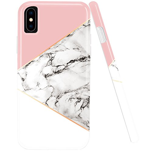iPhone X Case,iPhone 10 Case,DOUJIAZ Marble Design Geometric Anti-Scratch &Fingerprint Shock Proof Thin Non Slip Silicone Hard Protective Cover for iPhone X (2017)-Pink/White