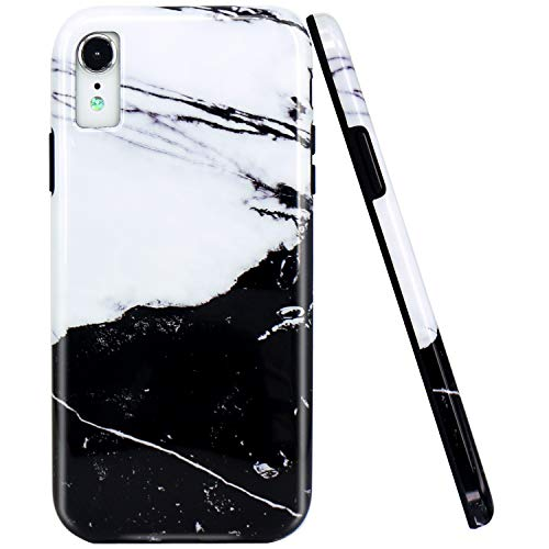 JAHOLAN Compatible iPhone XR Case New White Black Marble Design Flexible Bumper Glossy TPU Soft Rubber Silicone Cover Phone Case for iPhone XR 2018 6.1 inch