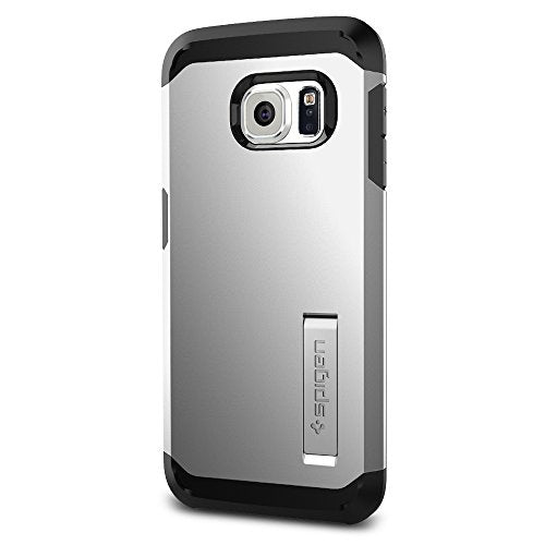 Spigen Tough Armor Galaxy S6 Edge Case with Kickstand and Extreme Heavy Duty Protection and Air Cushion Technology for Galaxy S6 Edge 2015 - Satin Silver