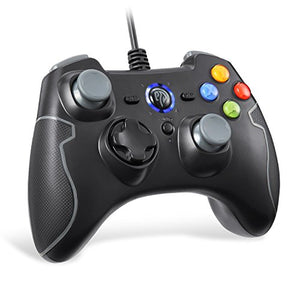 EasySMX Wired Game Controller Joystick with Dual-Vibration TURBO and TRIGGER Buttons for Windows/ Android/ PS3/ TV Box (Gray)