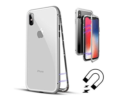iPhone X Case, DOROIM Ultra Slim Magnetic Adsorption Aluminum Alloy Tempered Glass with Built-in Magnet Flip Cover for Apple iPhoneX/10 (Clear white)