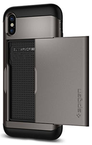 Spigen Slim Armor CS iPhone X Case with Slim Dual Layer Wallet Design and Card Slot Holder for Apple iPhone X (2017) - Gunmetal