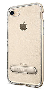 Spigen Crystal Hybrid iPhone 7 / iPhone 8 Case with Flexible Inner Casing and Reinforced Hard Bumper Frame for Apple iPhone 7 (2016) / iPhone 8 (2017) - Glitter Gold Quartz
