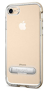 Spigen Crystal Hybrid iPhone 7 / iPhone 8 Case with Water-Mark Clear Case and Magnetic Metal Kickstand for Apple iPhone 7 (2016) / iPhone 8 (2017) - Champagne Gold