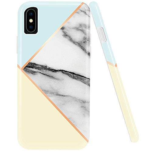 iPhone X Case,iPhone 10 Case,DOUJIAZ Marble Design Geometric Anti-Scratch &Fingerprint Shock Proof Thin Non Slip Silicone Hard Protective Cover for iPhone X (2017)-Mint