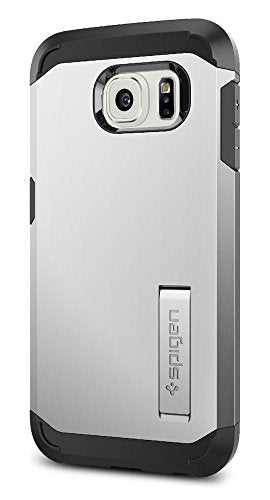 Spigen Tough Armor Galaxy S6 Case with Kickstand and Air Cushion Techonology for Galaxy S6 2015 - Satin Silver