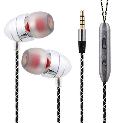 Hoostars In Ear Earphones, Earbuds With Microphone, Aluminum Casing Stereo Sound With Strong Bass For PS4 / Smart Phones / Tablets / Laptop PCs / Mac / MP4 HS108S (silver)