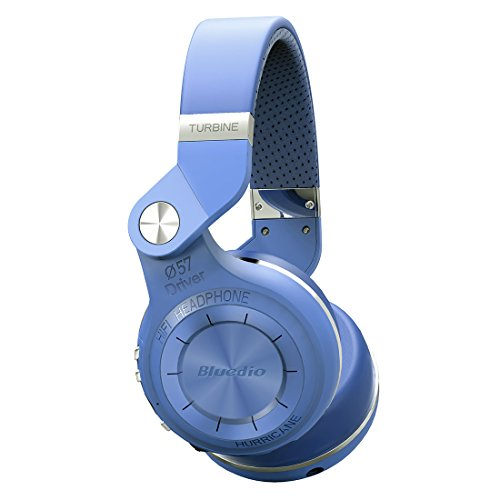 Bluedio T2s Turbine Bluetooth Wireless Stereo Headphones with Mic, 57mm Drivers/Rotary Folding, Blue