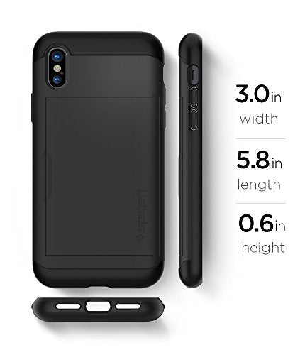on sale d31ea 76cbe Spigen Slim Armor CS iPhone X Case with Slim Dual Layer Wallet Design and  Card Slot Holder for Apple iPhone X (2017) - Black