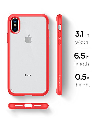 pretty nice 271ae ba0c3 Spigen Ultra Hybrid iPhone X Case with Air Cushion Technology and Hybrid  Drop Protection for Apple iPhone X (2017) - Red