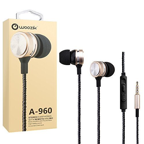 Woozik A960 Metal In-Ear Wired Headphones - with Microphone & In-Line Volume Control Music Stereo Earbuds Headset (Gold)