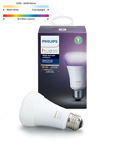 Philips Hue White and Color Ambiance A19 60W Equivalent Dimmable LED Smart Light Bulb, 1 Bulb, Works with Alexa, Apple HomeKit, and Google Assistant