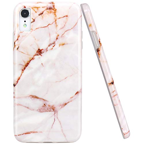 JAHOLAN Compatible iPhone XR Case Gold Marble Design Clear Bumper Glossy TPU Soft Rubber Silicone Cover Phone Case for iPhone XR 2018 6.1 inch
