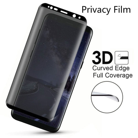 New 3D Full Cover Anti-Spy Tempered Glass Privacy Screen Protector for Samsung Galaxy S7 Edge/ S8 S9 Plus/ Note 8/ Note 9