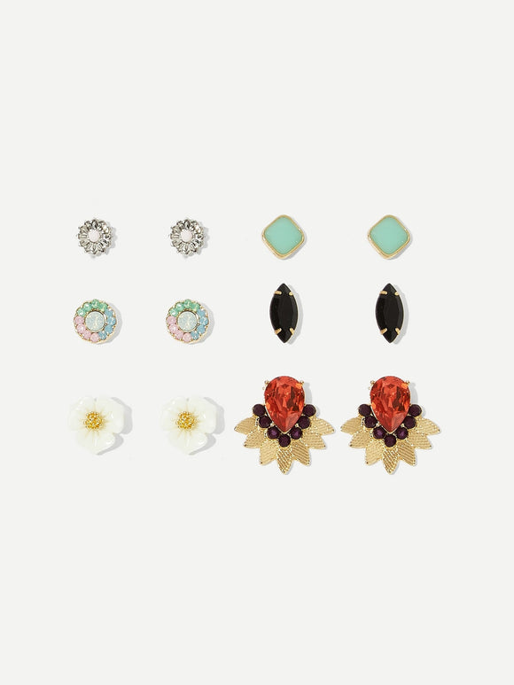 Flower & Gemstone Stud Earrings 6pairs
