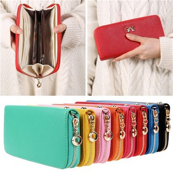 Korea Fashion Women's 3D Bow Knot Decoration Long Wallet Female Portable Leather Tote Purse