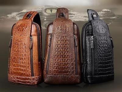 Men Leather Crocodile Laptop Shoulder Messenger Handbags Chest Bag Backpack