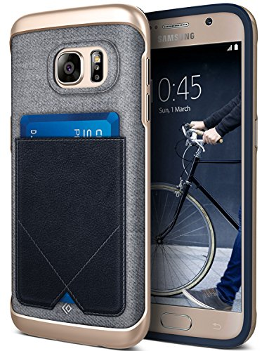 Galaxy S7 Case, Caseology [Messenger Series] Genuine Leather Pocket [Navy Blue] [Card Case] for Samsung Galaxy S7 (2016) - Navy Blue