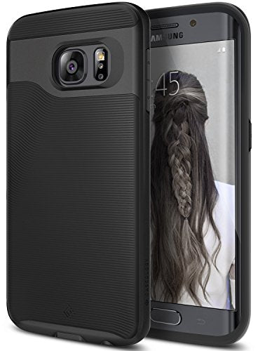 Galaxy S6 Edge Case, Caseology [Wavelength Series] Slim Dual Layer Protective Textured Grip Corner Cushion Design [Black] for Samsung Galaxy S6 Edge