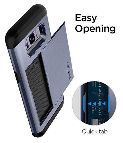 sale retailer eed7e 31aa4 Spigen Slim Armor CS Galaxy S8 Plus Case with Slim Dual Layer Wallet Design  and Card Slot Holder for Galaxy S8 Plus - Orchid Gray