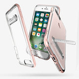 Spigen Crystal Hybrid iPhone 7 Plus / iPhone 8 Plus Case with Water-Mark Clear Case and Magnetic Metal Kickstand for Apple iPhone 7 Plus (2016) / iPhone 8 Plus (2017) - Rose Gold
