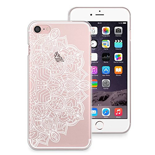 san francisco d0bee 86057 iPhone 8 Case, iPhone 7 Case, CasesByLorraine White Mandala Henna Pattern  Clear Transparent Case Slim Hard Plastic Back Cover for Apple iPhone 7 & ...