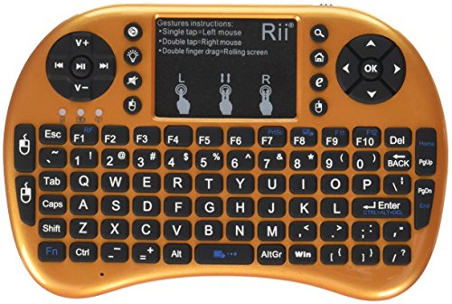 Rii i8+ 2.4GHz Mini Wireless Keyboard with Touchpad Mouse, LED Backlit, Rechargable Li-ion Battery, Gold (i8+Y)