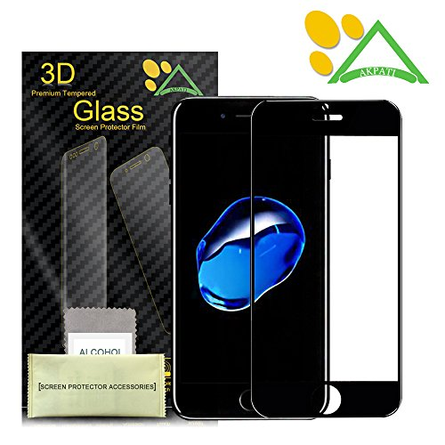 iPhone 7 Screen Protector,Akpati iPhone 7 Full Coverage 3D Curved Tempered Glass Clear Anti-Bubble Film [Full Coverage][Case Friendly][Anti-Scratch] for iPhone 7 (4.7inch) - Black
