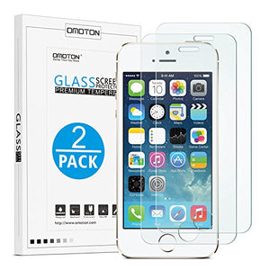 OMOTON 2.5D Round Edge 9H Tempered Glass Anti-Scratch Screen Protector for iPhone SE/ 5S/ 5C/ 5 - Clear (2 Pack)