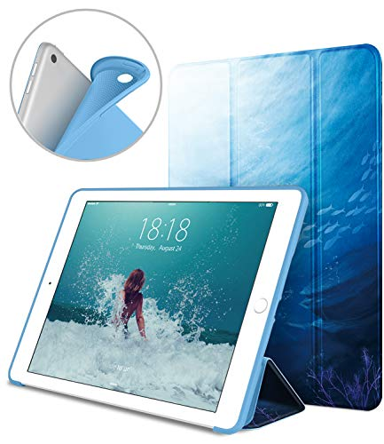 DTTO iPad 9.7 Case 2018 iPad 6th Generation Case / 2017 iPad 5th Generation Case, Slim Fit Lightweight Smart Cover with Soft TPU Back Case for iPad 9.7 2018/2017 [Auto Sleep/Wake] - Peace Sea