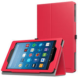 MoKo Case for All-New Amazon Fire HD 8 Tablet (7th Generation, 2017 Release Only) - Slim Folding Stand Cover for Fire HD 8, RED (with Auto Wake / Sleep)