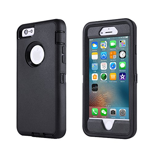 iPhone 6/6s Case,[HEAVY DUTY] Defender Armor 3 in 1 Built-in Screen Protector Rugged Cover Dust-Proof Shockproof Drop-Proof Scratch-resistant Tough Shell for Apple iPhone 6/6s 4.7 inch (Black)