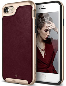 iPhone 7 Case, iPhone 8 Case, Caseology [Envoy Series] Slim Premium PU Leather Dual Layer Protective Corner Cushion Design for Apple iPhone 7 (2016) / iPhone 8 (2017) - Leather Cherry Oak