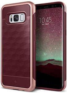 Galaxy S8 Case, Caseology [Parallax Series] Slim Dual Layer Protective Textured Geometric Cover Corner Cushion Design [Burgundy] for Samsung Galaxy S8 (2017)