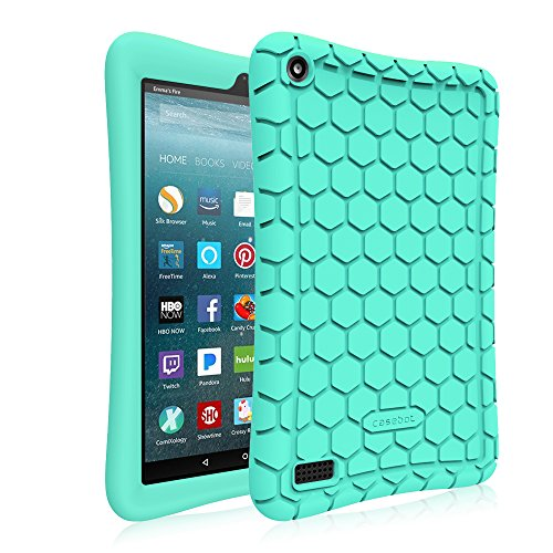 Fintie Silicone Case for All-New Amazon Fire 7 Tablet (7th Generation, 2017 Release) Turquoise