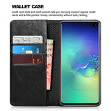 Samsung S10 Plus Case (2019), Galaxy S10 Plus Leather case ICARERCASE Premium PU Leather Folio Flip Cover with Kickstand and Credit Slots for S10+ Wallet Case 6.4 inch(Black)