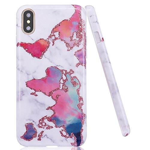 iPhone X Case,DOUJIAZ World Map Marble Design Clear Bumper TPU Soft Case Rubber Silicone Skin Cover for iPhone X (2017)