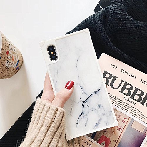 YonMeet Chic Black White Marble Case for iPhone X 10 Retro Classic Stylish Cover Square Shockproof Strong Protective Back Casing (iPhone X, White)