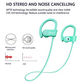 Wireless Bluetooth Headphones, Wireless Sports Earphones with Mic, Stereo Earbuds with Bass, Noise Cancelling Headsets, Portable Waterproof Running Earphones 8 Hour Battery for Men Women, Mint-green