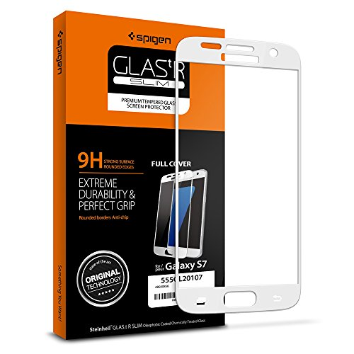 Spigen Full Cover Glass Galaxy S7 Screen Protector / Not Case Friendly / Tempered Glass for Samsung Galaxy S7 - White