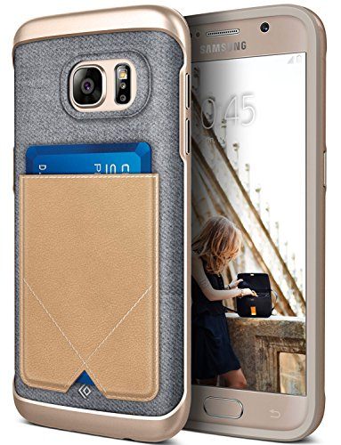 Galaxy S7 Case, Caseology [Messenger Series] Genuine Leather Pocket [Beige] [Card Case] for Samsung Galaxy S7 (2016) - Beige