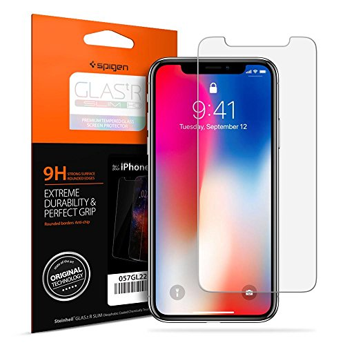 Spigen Apple iPhone X Glas.tr Slim HD Premium Tempered Glass Screen Protector With Oleophobic Coating - clear